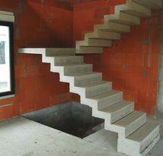 escalier béton en crémaillère à deux volées droites et un palier intermédiaire
