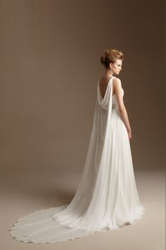 2014 Straps Pleated Bodice A Line Wedding Dress Wirh Ribbon Beaded Chiffon Chapel Train (back)