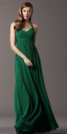 Size 10 Emerald Watters 4513 Long Halter Bridesmaid Dress- Floor length crinkle chiffon bridesmaid dress in the color emerald, features a sweetheart halter neckline with self ties and a ruched bodice.