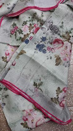 Pure Lenin sarees with digital print Floral Print Sarees, Saree Floral, Printed Sarees, Floral Prints, Soft Silk Sarees, Cotton Saree, Tulsi Silks, Sari Design, Jamdani Saree