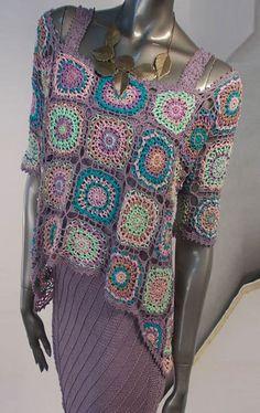 Rainbowy doilies crochet tunic