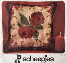 "Scheepjes Needlepoint Pillow Top Kit Holland Wool Vintage 17 1 2"" Roses 
