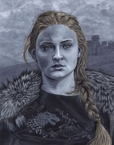 Sophie Turner as Sansa Stark from Game of Thrones. Artwork done with Copic markers and black and white ink pens.
