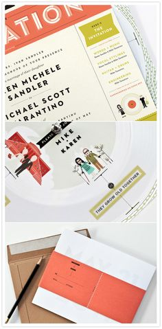 Record Player Wedding invite- love the typography