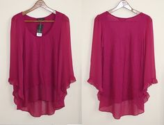 Genuine Dorothy Perkins Womans Top Shirt Fuhsja Pink Fashion Designer NEW RRP 22