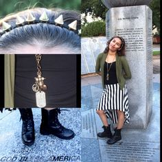 Military inspired look: olive cardigan, black $ white striped hi-lo skirt and combat boots