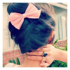 updo with bow Hairstyles and Beauty Tips ❤ liked on Polyvore featuring beauty products, haircare, hair styling tools, hair, icons, pictures, hair styles and icon pictures