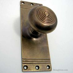 Hospital Door Knob on Latch Plate Hand Aged Brass