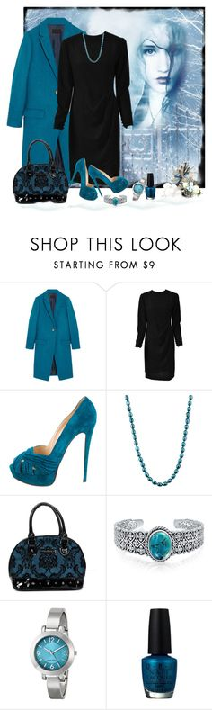"""Teal and Black"" by lorrainekeenan ❤ liked on Polyvore featuring J.Crew, Bill Blass, Christian Louboutin, Honora, Rock Rebel, Bling Jewelry, Nine West and OPI"