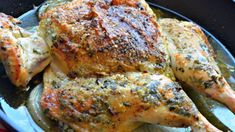 Whole chicken is baked with chimichurri, an Argentinian sauce of fresh herbs, spices, and olive oil, to make this beautiful gourmet dinner.