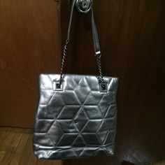 "Final Markdown❣ Calvin Klein Shoulder Bag Pewter Metallic Gray color - lots of inside compartments - good condition; worn twice! Measures about 13"" length and 12"" height. No trades. Calvin Klein Bags Shoulder Bags"