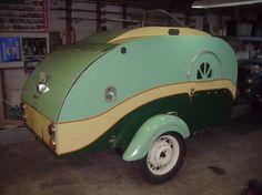 Vintage teardrop trailer.