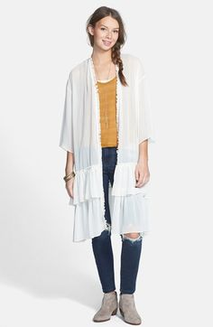 Free shipping and returns on Haute Society Tiered Ruffle Duster (Juniors) at Nordstrom.com. Winsome ruffles trail from the open front to the tiered hem of a dreamy, featherweight duster.