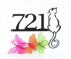 Custom Outdoor Cat House Number Metal Sign - Black, 14x11.25, House Number, Outdoor Sign, Cat, Custom Sign by RefinedInspirations on Etsy https://www.etsy.com/listing/197018726/custom-outdoor-cat-house-number-metal