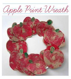 Use an apple to paint this wreath ! Fun apple craft for back to school time. This has a lot of other great art activities as well.