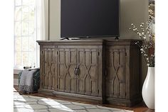 Quinden Vintage Casual Dark Brown Wood Large TV Stand W/Fireplace | Living  Space | Pinterest | Large Tv Stands, Tv Stands And Dark Brown