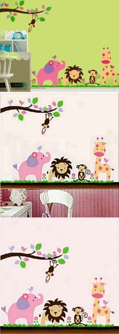 Modern House Safari Animal Family removable Vinyl Mural Art Wall Sticker Decal Approximate dimensions of sheet: 35 x 24 inches (90 x 60 cm). Decorate interior walls or windows of home, bathroom, office, dorm, or store. Apply to furniture (refrigerator, table, desk, kitchen cabinets, drawers, etc). Easy to apply, remove, reposition, and reuse without leaving damage or residue. Made and sold by Mode... #Modern_House #Baby_Product