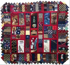 My latest creation. A tie quilt out of 52 ties!  www.ruthlloydenterprises.com