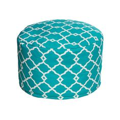 """Geo 26"""" Round Beanbag Pouf Aqua Outdoor Poufs (120 CAD) ❤ liked on Polyvore featuring home, outdoors, patio furniture, round outdoor patio furniture, outdoor patio furniture, outdoor garden furniture, bean bag and round cocktail table"""