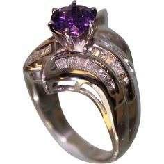 1950's Lady's 14Karat White Gold and Amethyst Diamond Ring Very from turnofthecenturyantiques on Ruby Lane