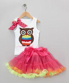 Look what I found on #zulily! White Owl Tank & Hot Pink Pettiskirt - Infant, Toddler & Girls #zulilyfinds