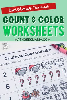 "This adorable set of Christmas themed ""count and color"" pages is perfect for Kindergarten! Help kids practice counting, writing numerals and one-to-one correspondance. #mathlessons #mathactivities #counting #kindergartenmath"