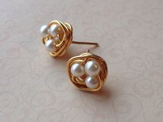 Ivory Pearl Earrings, Birds Nest Earrings, Bridesmaid Earrings, Bridal Party, Gold Wire Wrapped Stud Earrings, Petite Pearls, Post Earrings