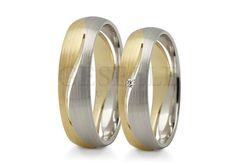 Nowoczesne, dwukolorowe obrączki ślubne z wspaniałą cyrkonią Swarovski ELEMENTS lub brylantem - GRAWER W PREZENCIE