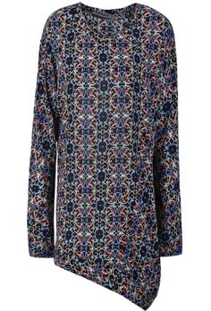 Black Long Sleeve Floral Asymmetrical T-Shirt US$32.79