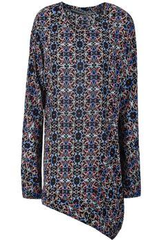 Camiseta floral asimétrico manga larga-Negro EUR€24.13