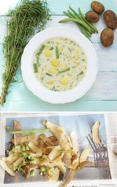 Fisolen: Kartoffel-Bohnensuppe mit frischem Bohnenkraut Cantaloupe, Risotto, Good Food, Vegetarian, Vegan, Canning, Fruit, Ethnic Recipes, Sweet