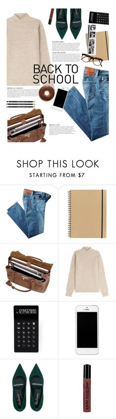 """""""First day of school"""" by takotarn ❤ liked on Polyvore featuring AG Adriano Goldschmied, Paperchase, Mulberry, KAROLINA, LEXON, NYX and Cutler and Gross"""