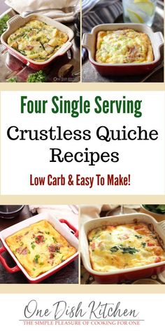 Four easy single serving crustless quiche recipes that are so tasty, you won't even miss the crust! Each quiche recipe is incredibly delicious! Kitchen Dishes, Kitchen Recipes, Food Dishes, Cooking Recipes, Healthy Recipes, Healthy Eats, Keto Recipes, Recipe For 1, My Best Recipe