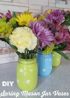 Sweet and cheerful painted spring mason jars