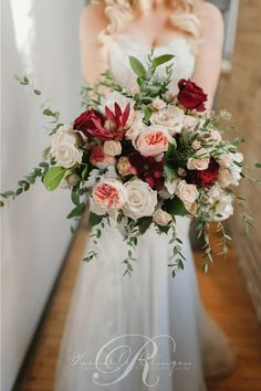 Romantic red, white and blush wedding bouquet; Via Rachel A. Clingen Wedding & Event Design