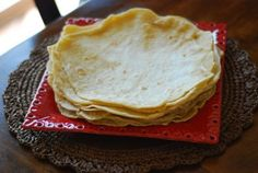 Cafe Rio tortillas:3 c. flour 1 1/2 tsp salt 2 tsp. baking powder 3/4 c. shortening 3/4 c. very hot water Mix, cover with damp cloth and let sit for 1 hour. Divide into 10-12 portions, roll out and cook in a screaming hot cast iron skillet until bubbly on one side, turn over and cook until done----not crispy. Flour tortillas are soft.