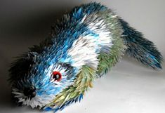 Sculptures by Sean Avery made from shattered cd's