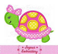 Instant Download Girl Turtle Applique Embroidery Design