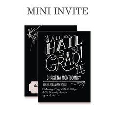 Written Praise - #Graduation Invitations - Petite Alma - White mini grad invite #TopPin