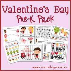 Free printable Valentine activity kit for pre-k kiddos.  How fun and adorable!