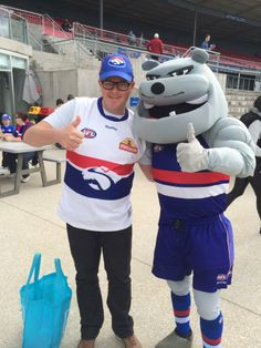 Me with the big doggie at the VFL game at Whitten Oval on 20/4/14