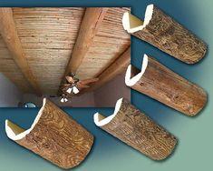 Faux Wood Log Beams create rustic look.
