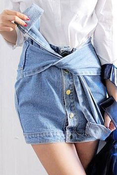 Denim skirt repurposed from a jacket maybe