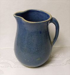 Vintage Yellow Ware Pottery Milk Pitcher -  Country Kitchen - Blue Glaze Blue Spatter