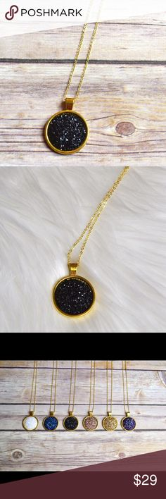 """SUMMER BLOWOUTBlack Druzy Pendant Necklace 25mm Druzy pendant on a 30"""" gold chain. Other colors in pictures are available in separate listings. Nickel and lead compliant.  No trades. Price firm unless bundled. Jewelry Necklaces"""