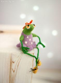 Needle Felt Frog A Little Felt Green Frog от FeltArtByMariana
