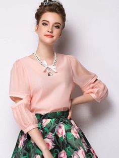 Shop LightPink Slit Sleeve Organza Blouse with Necklace from choies.com .Free shipping Worldwide.$21.99