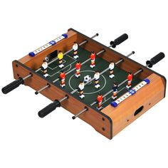 This mini foosball table with 4 steel rods and comfortable textured hand grips, which is easy to control and play. With 12keepers, 2 footballsand 2 mini scoreboards, this soccer game table gives you an intense gaming experience. In addition, the foosball table can be used for many situations, such as home, office and parties, which gives you an interesting and challenging soccer competition. Besides, this soccer table can not only spend relaxing time with your friends and families.