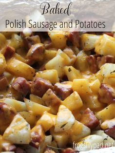 Polish Sausage and Potatoes Quick and Easy is this dish and yummy too! Baked Polish Sausage and Potatoes is sure to be a crowd pleaser.Quick and Easy is this dish and yummy too! Baked Polish Sausage and Potatoes is sure to be a crowd pleaser. Kilbasa Sausage Recipes, Polish Sausage Recipes, Sausage Crockpot Recipes, Sausage Recipes For Dinner, Smoked Sausage Recipes, Kielbasa Sausage, Easy Kielbasa Recipes, Recipe Using Polish Sausage, Recipes With Hillshire Sausage