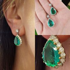 whats not to love about these emerald drop earrings surrounded by diamonds - our favourites of the day